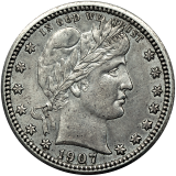 Barber Quarter Dollar 1907